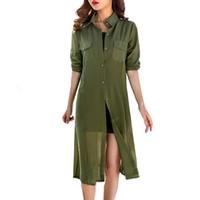 camisas verdes venda por atacado-Boho Chiffon Kimonos 2019 Verão Mulheres Blusas Praia Cardigans Camisa Túnicas Robe Femme Chemise Vermelho Verde Branco Preto Quimono Tops Y19062601
