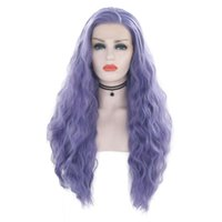 Wholesale wavy wig long curly hair for sale - Group buy Fashion Inch Purple Synthetic Lace Front Wig Long Curly Wavy Cosplay Wig Heat Resistant Fiber Hair Wig For Women