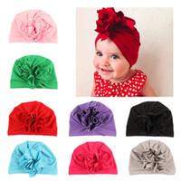 ingrosso fiori india-2019 bambini progettista appena nato sveglio neonata dei capretti turbante Fiore Wrap testa regolabile India cappello del cotone Cap