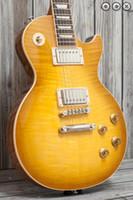 explosión de caoba al por mayor-1959 Guitarra eléctrica estándar de Honey Burst Honeyburst Flame Maple, cuerpo de caoba, puente Little Pin ABR-1, afinadores Tuilp