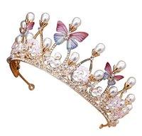 elmas taç çocukları toptan satış-Çocuklar Kadınlar Kızlar Firkete 2019 Yeni Moda Prenses Taç Inci Kristal Saç Çember Kelebek Inci Elmas Tiara Kafa Saç Aksesuarları
