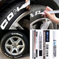 peinture graffiti noir blanc achat en gros de-10pcs voiture pneu pneu bande de roulement stylo noir étanche permanent marqueur de peinture stylo graffiti blanc peinture uni