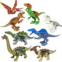 ingrosso plastica giocattolo dinosauro-Dinosaur Toy Set Building Blocks Bambini Plastica Dinosaur Action figures in miniatura Dinosaur Model Giocattoli Novità Kids Block Regalo MMA1125