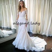 Wholesale pearl appliques for wedding dresses resale online - Vestido De Noiva Sexy Long Sleeve Wedding Dress V Neck Mermaid Summer Beach lace applique Bridal Gowns For Wedding Gala