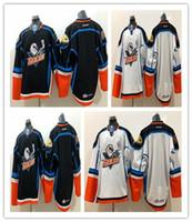 diego grátis venda por atacado-2019 San Diego Gulls Blue Road White Costurado Em Branco Double Stiched High Quanlity Frete grátis Preto Branco Hockey Jerseys