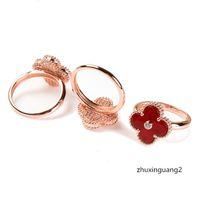 Wholesale black rose ring gold resale online - Fashionable Simple Four Leaf Clover K Rose Gold Black Plating Rings designer jewelry women