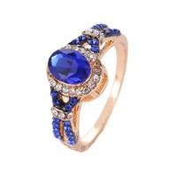 mavi safir elmas yüzük toptan satış-Benzersiz hediye pırlanta yüzük nişan taş yüzük safir yüzük kadınlar takı için Mavi Zirkon Yüzük ile Elmas