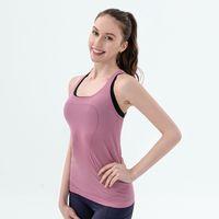 Wholesale sports mark resale online - Sexy Women Yoga Vest T shirt Designer Quick dry Exercise Sports Fitness Tank Top Yoga Running Gym Jogging Vest Tops