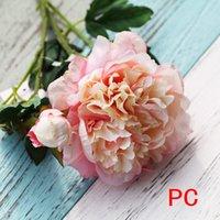 ingrosso giardinaggio peonies-Singolo peonia bouquet fiori artificiali peonie di seta bouquet di nozze decorazione della casa falso fiore di peonia Giardino Artigianato Art Decor