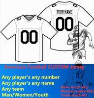 camisetas de fútbol americano para niños al por mayor-NUEVO Fútbol Americano CUSTOM Jersey Todos los 32 Equipos Personalizados Cualquier Nombre Cualquier Número Tamaño S-6XL Orden de Mezcla Hombres Mujeres Jóvenes Niños Cosidos