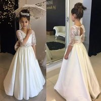 Wholesale princess first communion dresses for sale - Group buy Vintage Lace Long Flower Girl Dresses New Beaded Floor Length A Line Half Sleeve First Communion Dress For Wedding Party Gowns