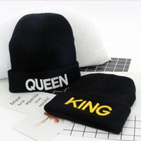 Wholesale knit brimmed skull caps for sale - Group buy KING QUEEN hat High Quality Beanie Ski Cap Gold letter Tour Skull Stretch Caps Soft Cuff Beanie Knitted Hiphop Warm winter hats