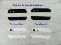 iphone alt cam toptan satış-Üst ve Alt arka Arka Cam Kamera Flaş lens Değiştirme Paneli iphone 5 5 S SE Siyah Beyaz