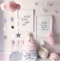 vinilos decorativos bebé al por mayor-Las nubes nórdicos estrellas del oro colgante decoración bebé etiqueta de la pared del arte cama con dosel Colgando del amortiguador de la decoración de la habitación de chicas almohadas decorativas