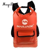 mochila bolsas de pesca al por mayor-MagiDeal 22L Mochila seca a prueba de agua Mochila Kayak Canoa Bolsa de surf para kayak Canotaje Canotaje Surf Pesca