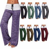 xxl geniş bacak pantolonu toptan satış-YIQIAOHUI 1800 # 6 Renk S-XXL kadın splice yoga çabuk kuruyan spor pantolon açık rahat geniş bacak pantolon