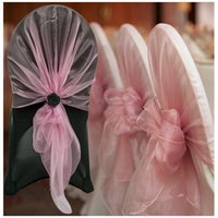 органза свадебное кресло оптовых-10pcs Organza Chair Hoods / Chair Caps / Wrap Tie Back Cover Sash For Wedding Event&Party&Banquet Decoration