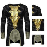 traditionelle lange tops großhandel-NIBESSER African Dashiki O Hals traditionelle afrikanische Druck Langarm Maxi Shirt Herren Long T Shirt 2018 neue Ankunft Tops