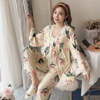 2019 Spring 3PCS Sexy Cotton Pajama Sets for Women Long Sleeve Robes Femme Print Sleepwear Homewear Pijama Mujer Three Piece Set