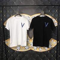 adam gömlek geri toptan satış-Bahar Yaz 2019 Lüks Avrupa Fransa Paris Yüksek Kalite Geri Loş Gölge Baskı Tshirt Moda Erkek Kadın T Gömlek Casual Pamuk Tee