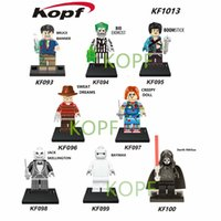 Wholesale freddy figure resale online - Horror Movie Figures Jason Voorhees Friday the th Freddy Edward Scissorhands Walking Dead Sally Jack Building Blocks Toys For Children