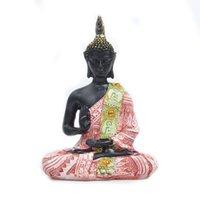 statuen nach hause großhandel-Naturharz Buddha Statue Sitzen Meditation Buddha Skulptur Handgemachte Figur Meditation Miniaturen Ornament Statue Hause Handwerk