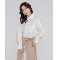Wholesale professional lady clothes resale online - Designer women s spring color contrast British wind lapel shirt Slim professional shirt ladies large size women s clothing