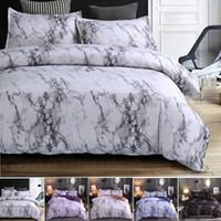 linge de couette achat en gros de-4colors motif de marbre ensembles de literie ensemble housse de couette ensemble de lit 2 / 3pcs Twin Double Queen housse de couette linge de lit