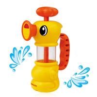 spray de pato al por mayor-Baño de bombeo pato bebé jugando agua juguetes niños bañándose baño de rociadores de agua juguetes
