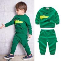 Wholesale child crocodile for sale - Group buy Baby boys crocodile Letter print outfits children top pants set spring autumn kids Clothing Sets C5887