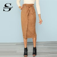 ingrosso gonna di lavoro marrone-Sheinside Brown Tie Waist Bodycon Gonna di lavoro Zip posteriore Mid-polp Wrap Knot Split Back Elegante donna Autunno matita Midi Gonna Y190411
