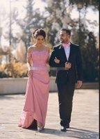 Wholesale hot evening gowns satin for sale - Group buy Hot Sale Charming Pink Long Evening Dresses Off Shoulder Short Sleeve Lace Applique Bodice Prom Party Gowns