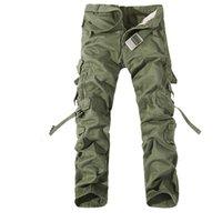 büyük erkekler kargo pantolon toptan satış-2019 Yeni Erkekler Kargo Pantolon ordu yeşil büyük cepler dekorasyon mens Rahat pantolon kolay yıkama erkek sonbahar ordu pantolon artı boyutu 42