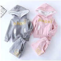 Wholesale baby girl clothes angel resale online - Baby Fleece Hooded Suit Toddler Boys Letter Sweatshirt Kids Designer Clothes Girls Funny Words Angel Hoodies Splice Casual Outfits