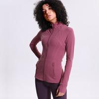 Wholesale xxl yoga tops for sale – designer 2019 New Running Jackets Women s Sportswear High Stretch Yoga Coat Seamless Gym Top Fitness Clothing Nylon Zip Sweatshirts Women