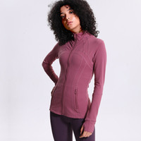 elbiseler koş toptan satış-2019 Yeni Koşu Ceketler kadın Spor Yüksek Streç Yoga Ceket Dikişsiz Spor Üst Spor Giyim Naylon Zip Tişörtü Kadınlar
