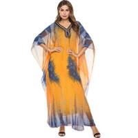 арабские модные платья для женщин оптовых-2019 богемный шифон алмаз бисером платье Batwing рукавом женщин мусульманская абая мода дубайский арабский оаэ халаты
