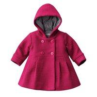 chaqueta roja de invierno para niñas al por mayor-hilittlekids Niño del bebé paño grueso y suave invierno caliente Pea Coat Jacket nieve traje ropa de color rosa roja