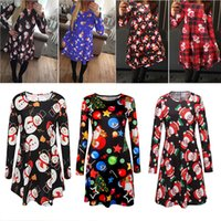 Wholesale santa claus clothes for girls resale online - Long Sleeve Santa Claus Dresses Gift Christmas Xmas Flared Dress for Women girls swing Casual Mini Dress home clothing DHL WX9