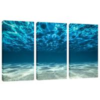 ingrosso pannello murale per ufficio-Amosi Art Blue Ocean Sea Wall Art 3 Panel stampe su tela Immagine Seaview Bottom Pictures Pittura su tela Modern Home Office Decor incorniciato