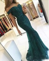 Wholesale hot pink long sleeve dresses resale online - Hot Sale Charming Dark Green Prom Dresses Lace Appliques Off The Shoulder Mermaid Evening Dress Long Party Gowns