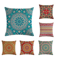 Wholesale white sequin pillows for sale - Group buy 45 cm Bohemia Geometric Mandala Flower Cushion Covers Linen Sequin Pillow Cover Sofa Bed Nordic Decorative Pillow Case ZY415