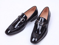 Wholesale chain boot shoes men resale online - Classic Patent Leather Business Shoes Men Dress Shoes Moccasins Loafers Lace Monk Straps Boots Drivers Real Leather Sneakers Shoes