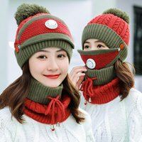 3pcs set Winter Hat And Scarf With Mask Breathable Velvet Thick warm Windproof Collars Sets For Women Ladies Hat & Scarf