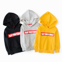 Wholesale yellow hoodie 3t for sale – custom Spring Fashion Ins Kids Casual Hoodie Tops Cotton Letters Terry Hoodies years New Hotsale Free DHL
