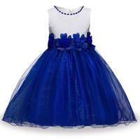 blume taille spitze großhandel-Mädchen-Spitze-Prinzessin Dress Round Neck Sleeveless Blumen-Ineinander greifen-Partei-Kleid-Bogen-Taillen-Mädchen-Entwerfer-Kleid