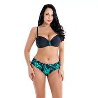 große cupped bademode großhandel-Plus Size Bikini Set Frauen Solide Bademode Push Up Badeanzug Strap Biquini Gepolsterte Bikinis Große Tasse Badeanzug Plissee Beachwear