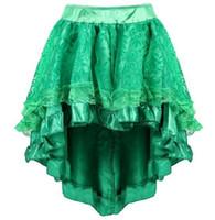 traje victorian steampunk al por mayor-3 colores Sapubonva de múltiples capas de encaje victoriano Burlesque disfraces ropa gótica Steampunk volantes falda de gasa vestido de cremallera CCA10927 10 unids