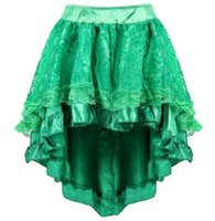 Wholesale burlesque women costumes online - 3 Colors Sapubonva Multilayer Lace Victorian Burlesque Costumes Gothic Steampunk Clothing Ruffled Chiffon Skirt Zipper Dress CCA10927