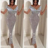 modern maxi gece elbisesi toptan satış-V boyun mermaid Balo elbise abiye seksi parti elbiseler kolsuz sıcak şifon parti elbise boho uzun maxi akşam parti plaj elbiseleri